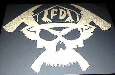 <<REFLECTIVE>> FD Skull & Axes Decal Fire Fighter Rescue Sticker PLUS FREE DECAL