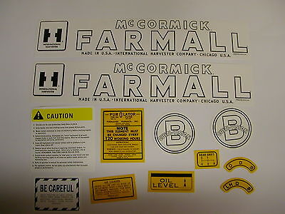 Ihc Farmall Model B Cultivision Tractor Decal Set - New Free Shipping
