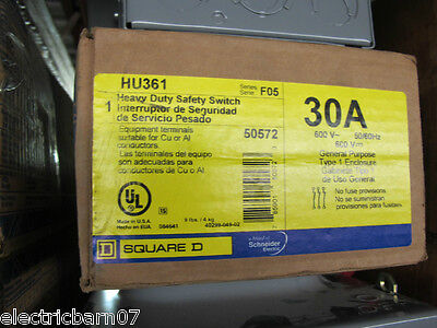 Square D Hu361 30 Amp 600 Volt 3 Pole Disconnect F Series- New