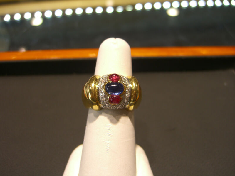 Womens Fine Designer Ring  Caprice Diamond Sapphire Ruby 18 Karat Yellow  New!!