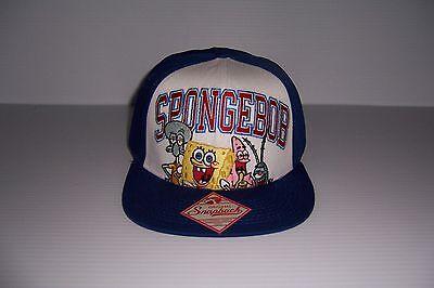 NICKELODEON SPONGEBOB SQUAREPANTS BLUE & WHITE SNAPBACK HAT CAP NWT! - Spongebob Hat