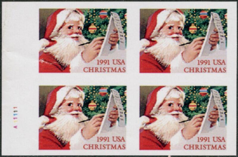 "#2582a Var.""1991 Usa Christmas"" P.w. Booklet Pane Of 4 Imperf Major Error Bp4431"