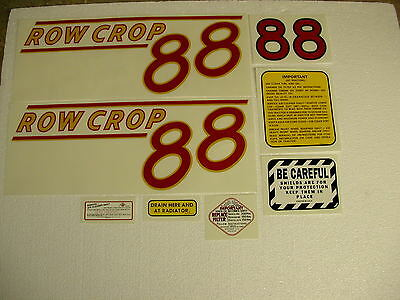 Oliver 88 Row Crop Tractor Decal Set Red Numbers - New Free Shipping