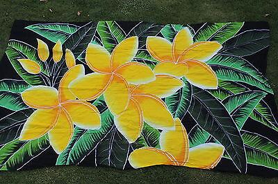 Fahrt Bikini (Sarong Handbemalt Hawaii Gelb Plumeria Pereo Bikini Kreuzfahrt)