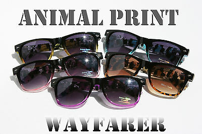 Animal print clear Sunglasses with Gradient Lens 80's Vintage Retro  horn (Sunglasses With Printed Lenses)