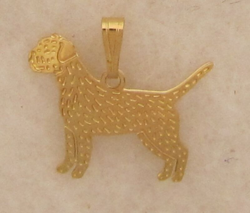 Border Terrier Jewelry Gold Pendant by Touchstone