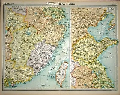 1920 LARGE MAP ~ EASTERN CHINA POLITICAL ~ WITH TAIWAN ~ 23