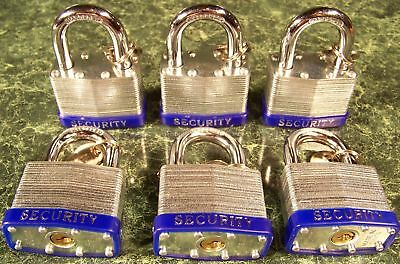 6pc 2 inch Security LAMINATED PAD LOCKS Keyed Alike NEW lock