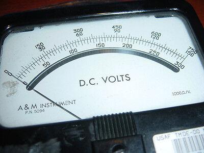 Dc Voltage Meter Volt A M Instrument Pn 5094 Vintage 0 To 750 Bakelite Used