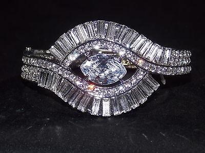 Bridal Wedding Cubic Zirconia Baguette Cut, Clear Crystal & Rhinestone Bracelet