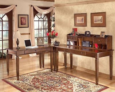 REGAL - 4pcs Traditional Large Desk Corner Table Hutch Home Office Set Furniture
