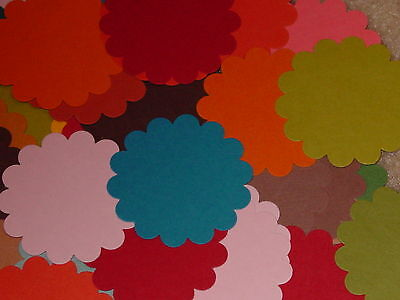 STAMPIN UP SCALLOP CIRCLE CARDSTOCK PUNCHIES VARIETY OF COLORS MIXED LOT -
