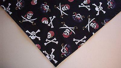 Dog Bandana/Scarf Tie On/Slide On Halloween Pirate Custom Made by Linda XS,S,M,L - Halloween Pirate Bandana