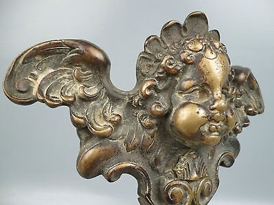 2 19th Century or Earlier Heavy Bronze Furniture Mounts - Cherub Wings Angel BR