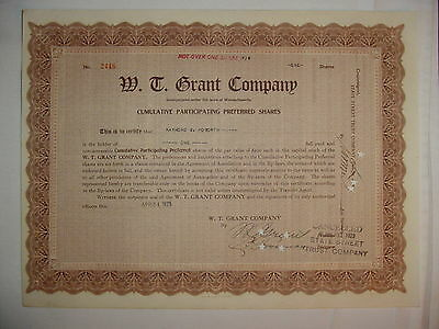 W.T. Grant Company Stock Certificate Grant's Signed 5 & 10 Cent Stores Mass.