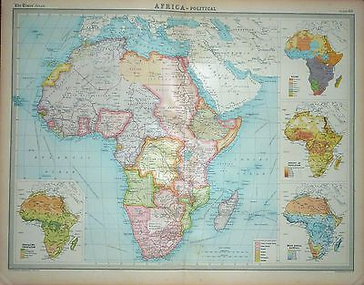 1920 LARGE MAP ~ AFRICA ~ POLITICAL ~ WITH RACES RAINFALL POPULATION ~ 23