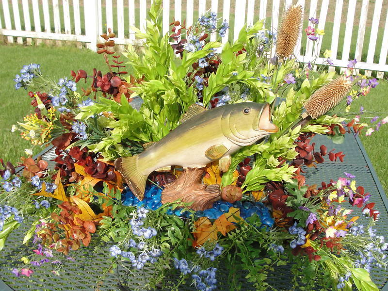 Autumn Fall Fish (Vary) Pond Cemetery Grave Tombstone Saddle Fathers Headstone