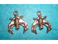 Bat Charms Lot of 2 Bird Charms Halloween Witch Cave Dweller Charm Vampire Charm