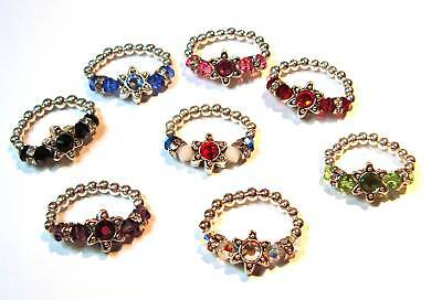 Swarovski Crystal stones & Sterling Silver STAR Toe Ring Handmade, Many Colors