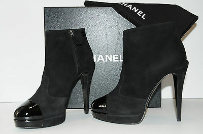 $1195 NEW CHANEL BLACK SUEDE PATENT BOOTIES Platform ANKLE BOOTS SHOES 41 10.5