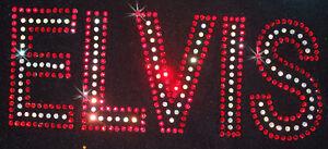 RED ELVIS iron-on RHINESTONE diamante bling diy TSHIRT TRANSFER applique PATCH