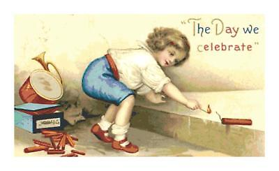 Retro 4th of July Child w. Fireworks DIGITAL Counted Cross Stitch Needlepoint