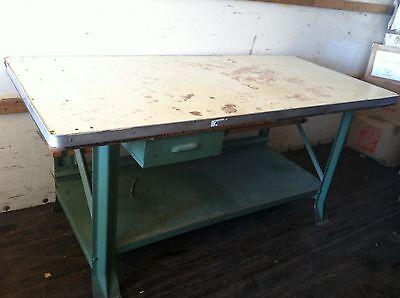 Vintage Industrial Steel Work Table 73 X 35 Heavy Duty Work Bench Metal Shop