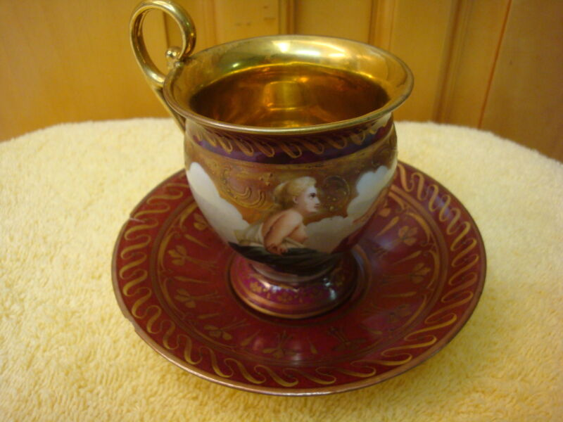 SIGN WAGNER ROYAL VIENNA HAND PAINTED NUDE SCENE ANTIQUE Cup&SAUSER
