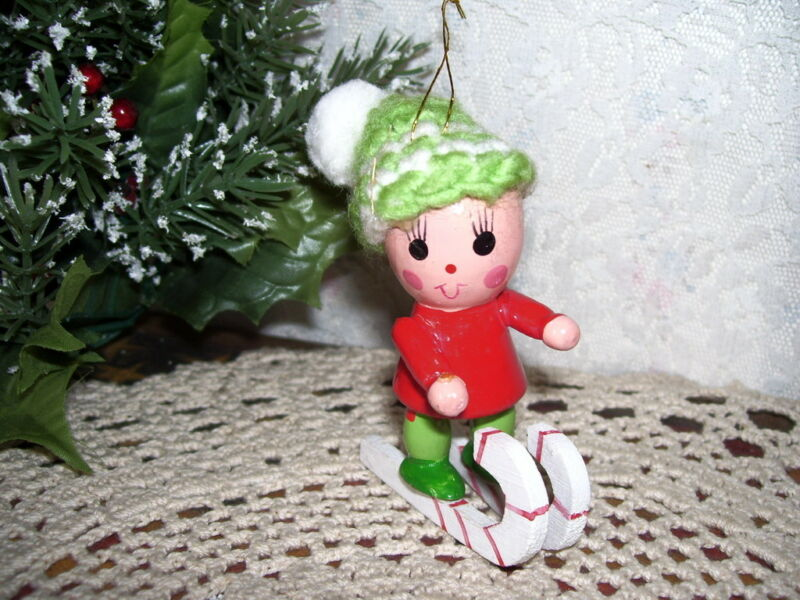 Wood Christmas Ornament Skier Vintage
