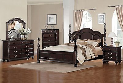 CASTELLO 5 pieces Traditional Brown Bedroom Set Furniture - King Size Poster Bed
