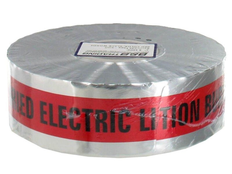 """Detectable Underground Marking Tape 3""""x1000Ft CAUTION BURIED ELECTRIC LINE BELOW"""
