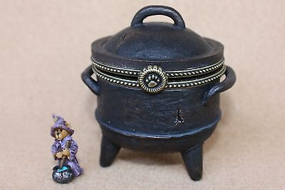 Boyds Bears Resin Creepellas Cauldron w Wiz McBibble Halloween Treasure Box