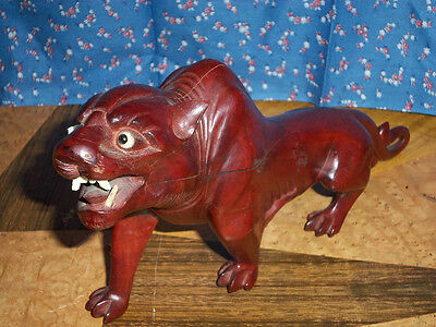 """Beautiful Old Wood Carving  ?? Possibly Cougar  Other Wild Cat  11 7/8"""" Long"""