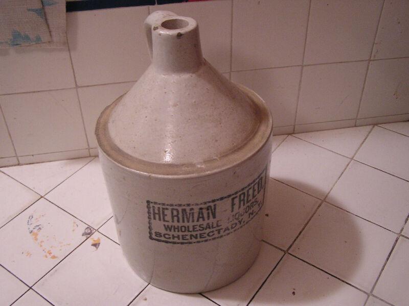 Antique Vintage Herman Freed Pottery Jug Wholesale Liquors New York NY