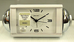 SEIKO -  WHITE CASE -LOUD BELL ALARM  W/ SNOOZE, QUIET SWEEP SECOND HAND QHK027W
