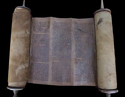 Antique Complete Torah Bible Scroll Manuscript On Deer Parchment Morocco Ca 1600
