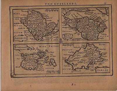 1651 Genuine Antique map English Islands. Wight, Jersey, Gernsey, etc. Jansson