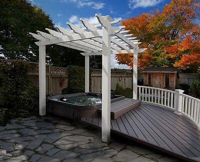 New England Arbors Decorative PORTLAND White Vinyl Garden Patio Spa Pergola