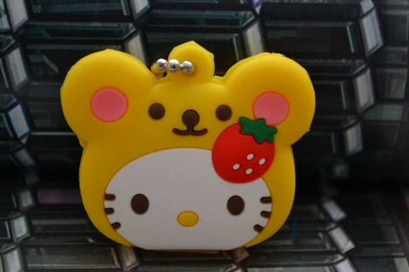 Hello Kitty Key Cap KeyChain-Cute Yellow Strawberry Hello Kitty Key Cover Cap