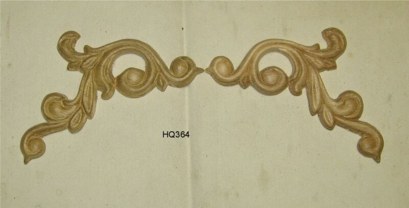 "SET WOOD EMBOSSED APPLIQUE 6"" X 3 1/4"" EACH PIECE HQ364"