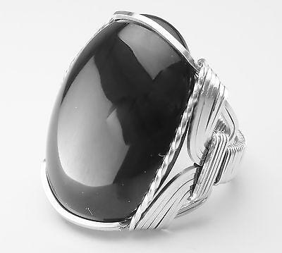 Bold Black Onyx Artisan Ring Sterling Silver Mens or Ladies