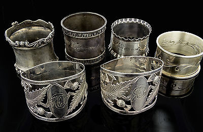 Set of 6 Sterling Silver Napkin Rings 150.7 grams
