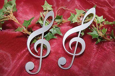 Notenschlüssel Violinschlüssel Tischdeko Dekoration Musik Noten Acryl silber 2St