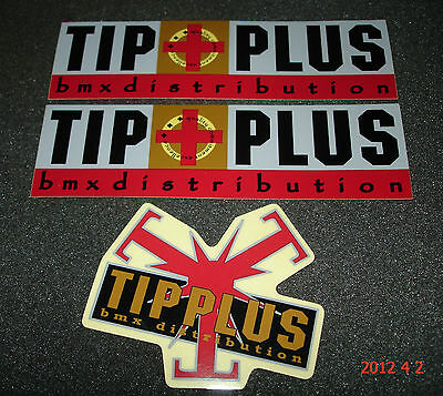 3 AUTHENTIC TIP PLUS BMX DISTRIBUTION STICKERS / DECALS / AUFKLEBER