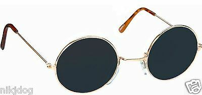 John Lennon Sunglasses Round Shades Gold Frame Black Lenses (Black Sunglasses Gold Frame)