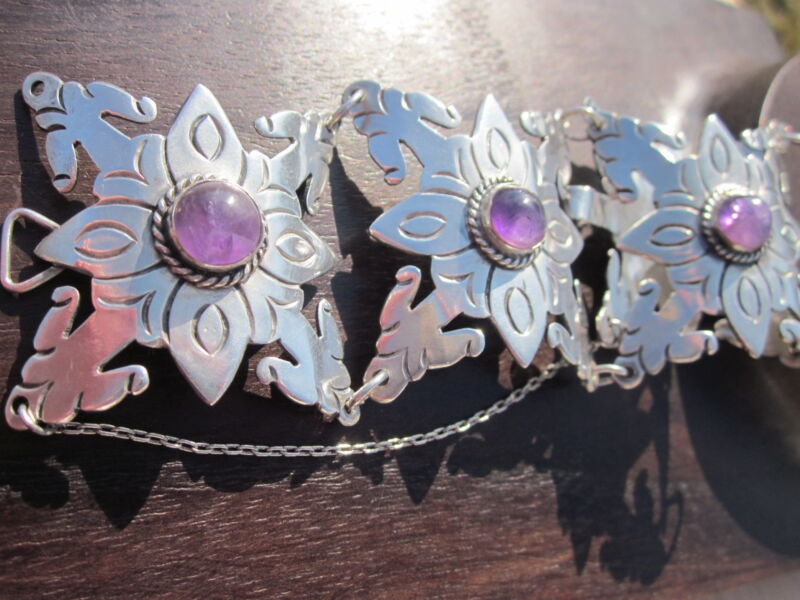 """Up To  6 1/4"""" VINTAGE MEXICAN Sterling WIDE AMETHYST Bracelet*Safety Chain"""