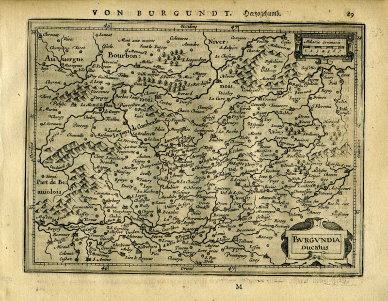 1651 Genuine Antique map Central France. Burgundia. Mercator Jansson