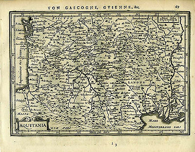 1651 Genuine Antique map southern France, Aquitania. Mercator Jansson