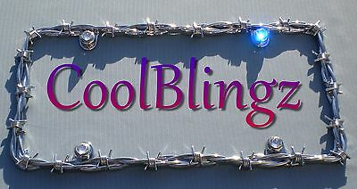 BARBED WIRE License Plate Frame + Crystal Bling Caps made w/ Swarovski Elements