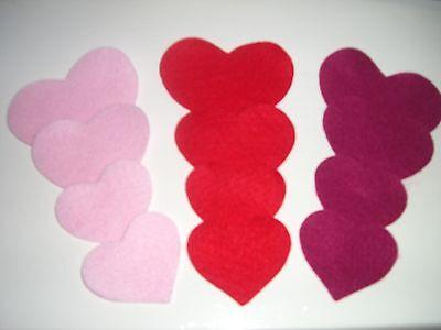 Pink & Red Hearts, die cut felt, felt hearts, die cut hearts, wedding decor